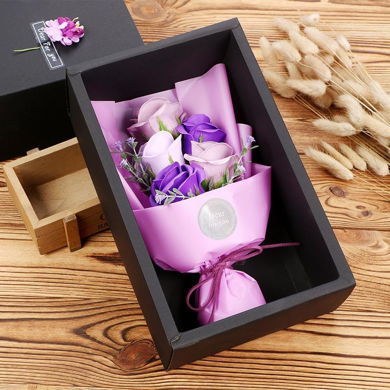 De gama alta de jabón perfumado de flores romántico baño de pétalos Con Negro caja al por menor de simulación Rose Jabones Flores para el regalo de San Valentín 11 B 8RT