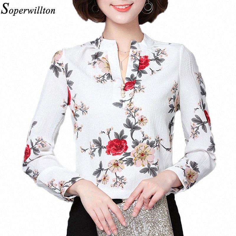 2019 Moda Bluz Kadınlar Gömlek Uzun Kollu Şifon Çiçek Baskı Büro Gömlek Bayan Üst Kadın Giyim blusas Artı boyutu 3XL H2 O148 #