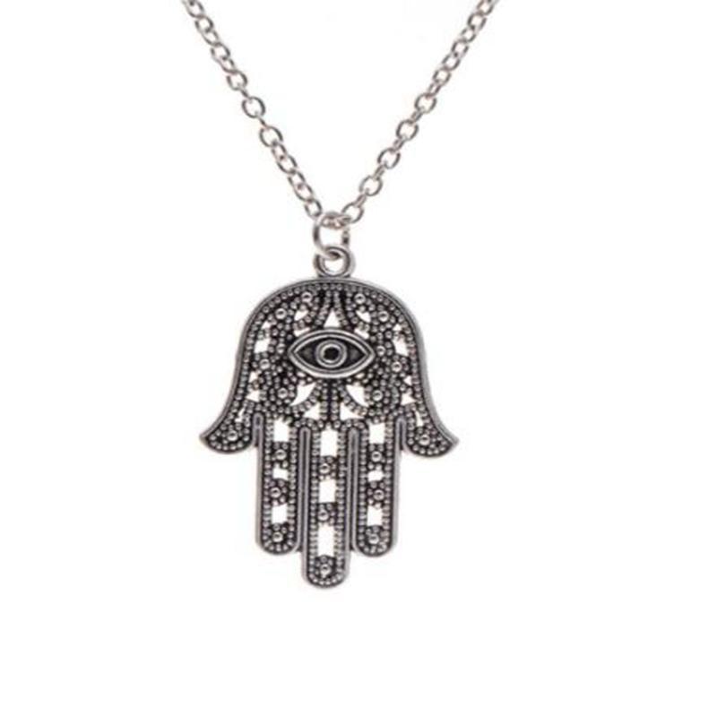 Heiße Art und Weise Turkish Evil Eye Hand Hamsa Halskette Silber Hand von Fatima Halsketten-Anhänger Frauen Claviclekette Halsketten-reizendes Geschenk Jewlery