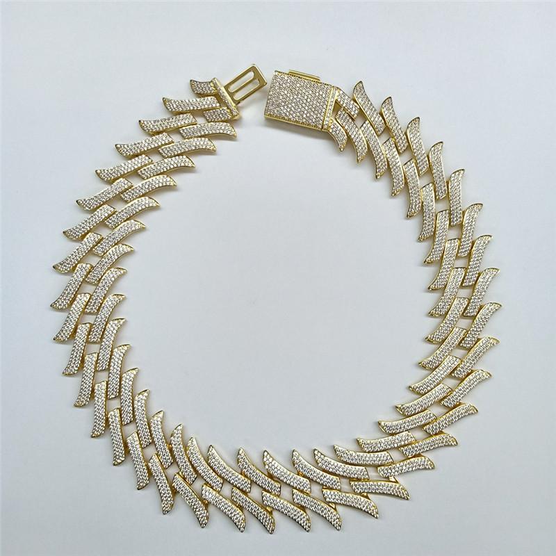 Catene placcato oro completa CZ cubani collana 30mm 18 / 20inch CZ Prong catena Impostazione della collana di collegamento per i monili degli uomini di Hip Hop