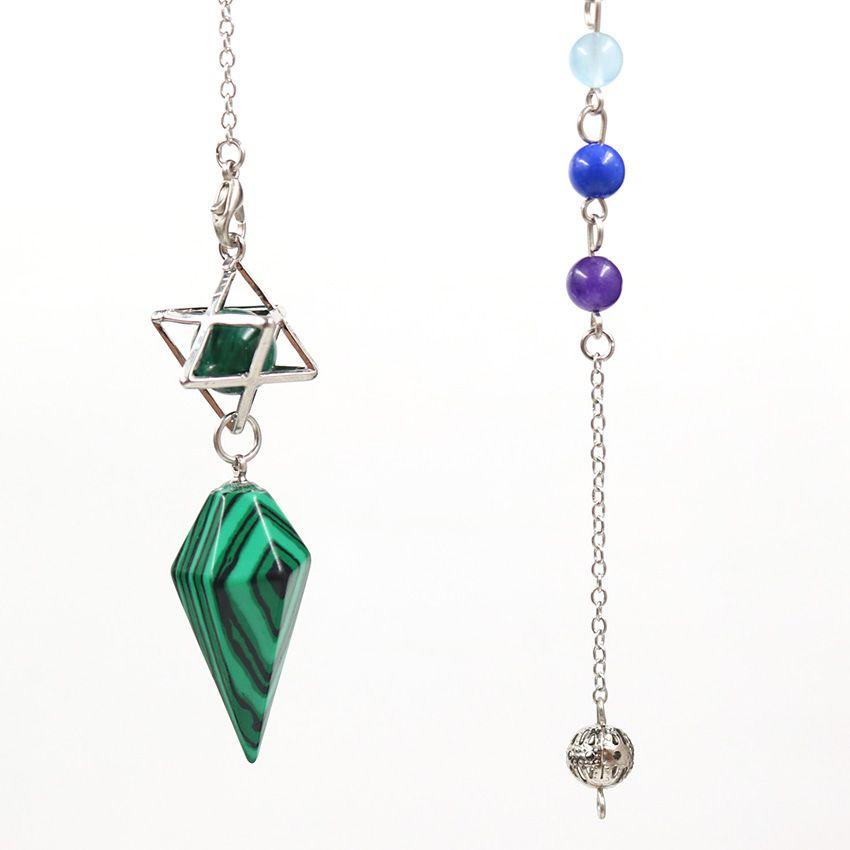 10 ADET Gümüş Kaplama Kolye Merkaba Sembolü Malakit Taş Altıgen Piramit Mavi Turkuaz Için Muska Takı