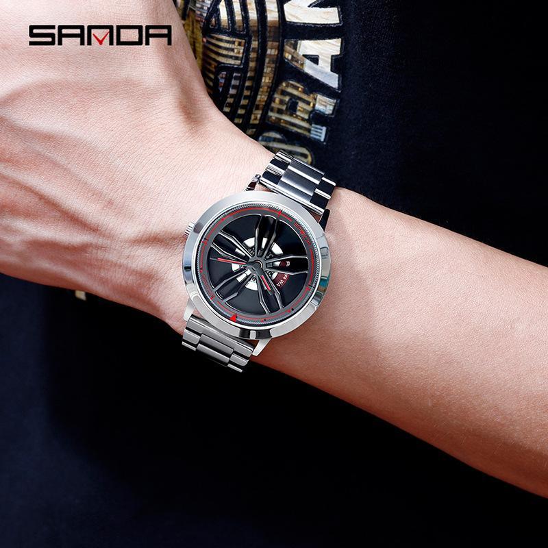 High-End New TikTok Watch Fashion Mens Student Casual Waterproof Steel Belt Rotating Watch Mens Generation