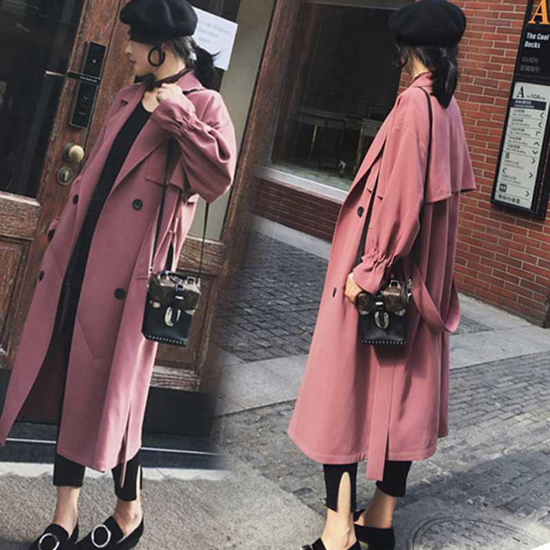 New Fashion Fall /Autumn Casual Double breasted Simple Classic Long Trench coat with belt Chic Female Windbreaker Raincoat