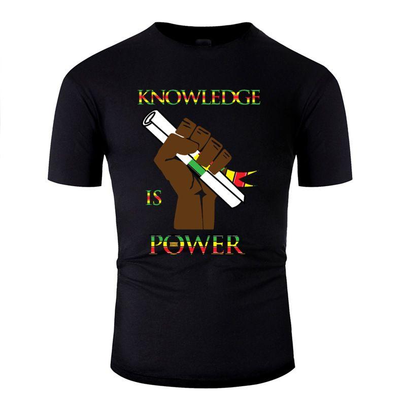 Солнечный свет T-Shirt Юмор Письмо знаний Сила Черного Король Королев HBCU Африка Тенниска Серый Одежда 2019 Лучшего качество