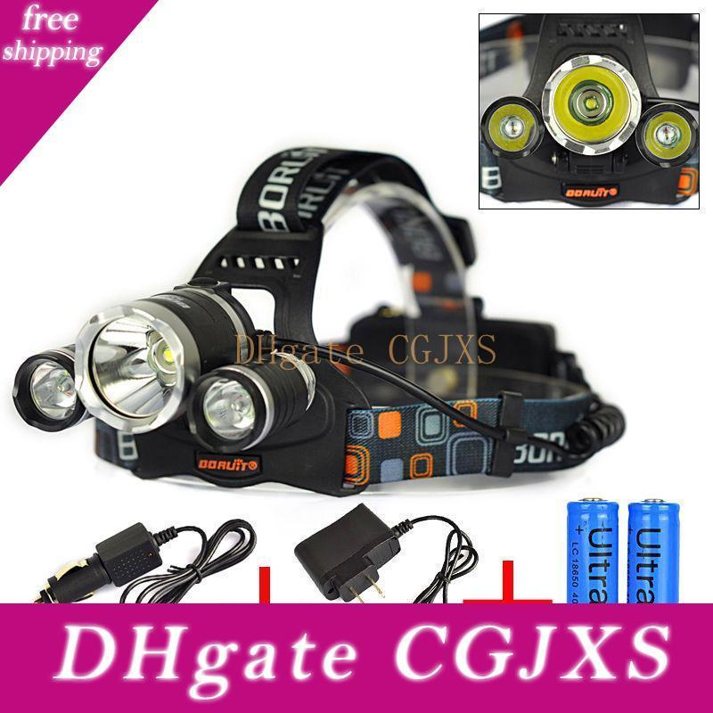 5000lm Jr -3000 3x Cree Xml T6 Led Headlamp Headlight 4 Mode Head Lamp 2x18650 Battery Ac Charger For Bicycle Bike Light Outdoor Sport