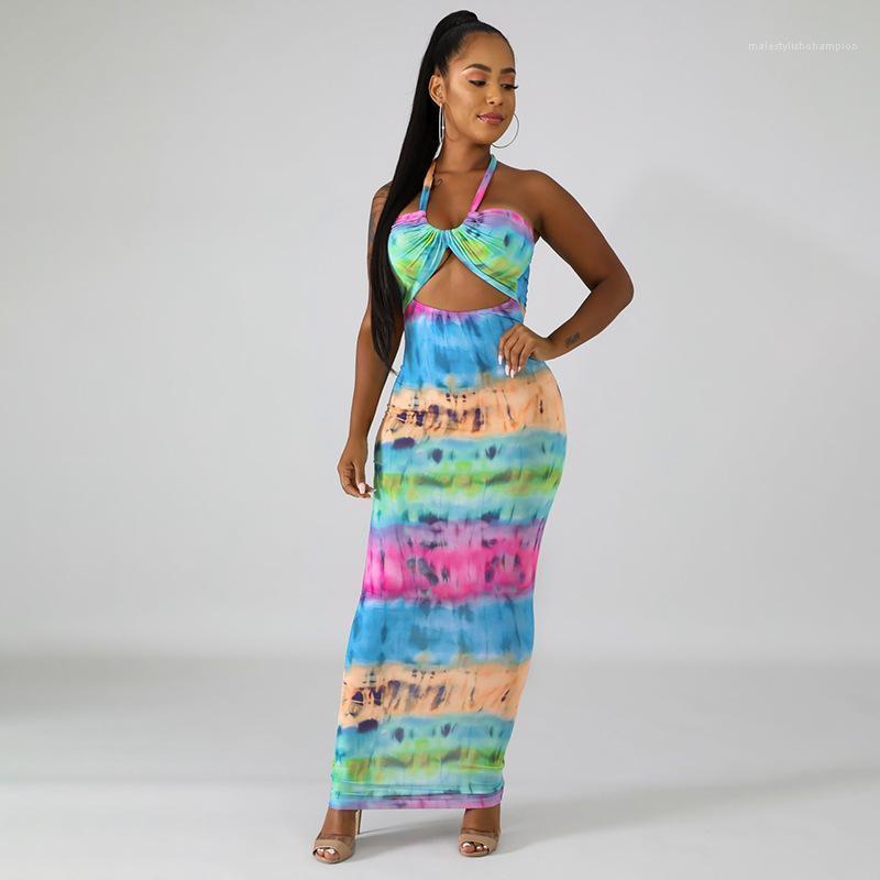 Estate Halter Stampa Bandge vestito sexy da modo Backless media vestiti lunghi femminile Abbigliamento Donna Dress Designer