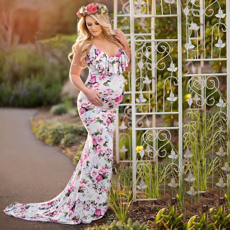 Fashion Women's Pregnancy Dresses V Collar Dress Maternity clothes Summer Sleeveless Print Sundress new woman dress for photo