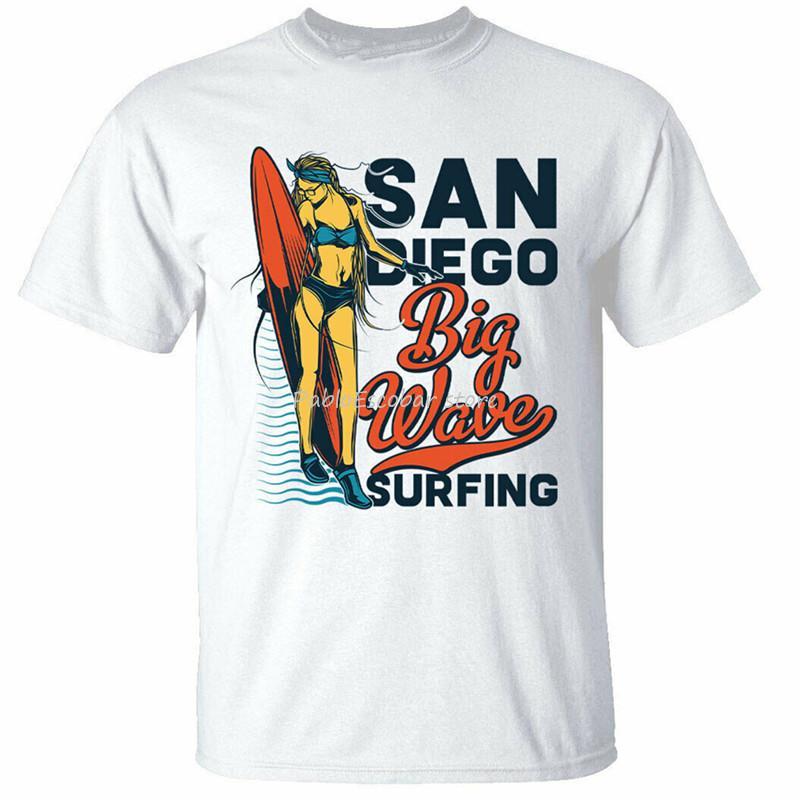 San Diego Big Wave Surfing T-Shirt der Männer Surf Beach Surfers Spitze T Usa Weiß Plus Size T-Shirt Kleidung