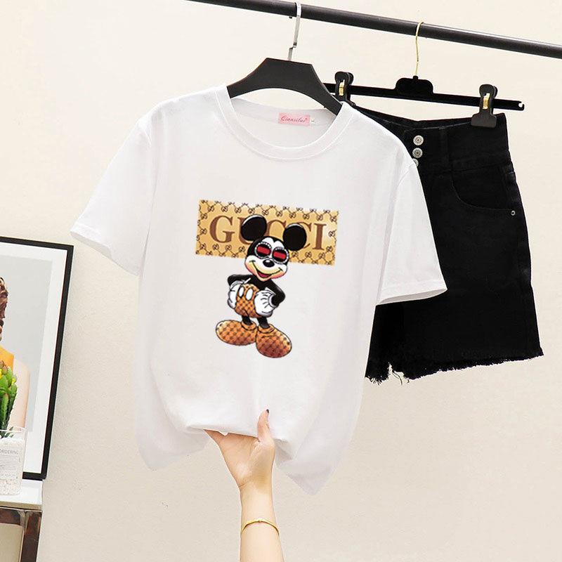 Женская футболка девушки одежды экипажа шеи короткий рукав пуловер втулки крышки одежды лета полиэстера Перл бабочка плюс размер 333