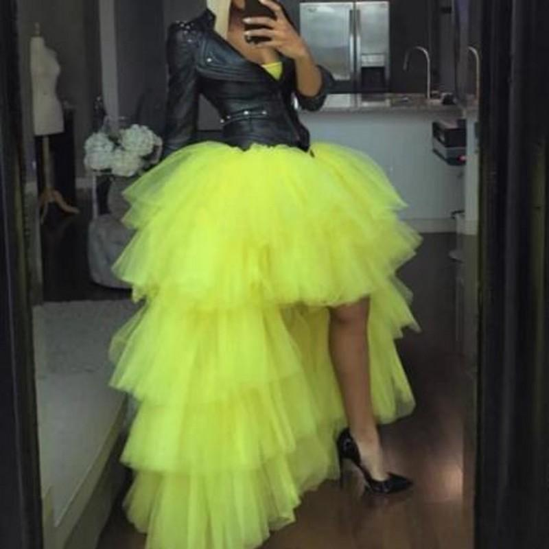Cheap High Low Tulle Skirts Girls Party Dress Tutu Cute Cheap Woman Tulle Skirt For Evening Tiered TUTU Candy Color Prom Gowns Only Skirt