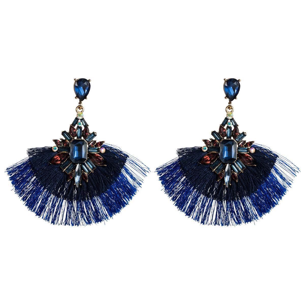 Fan abartılı akrilik elmas çok katmanlı püskül küpe kadın moda küpe bohem ulusal tarzı