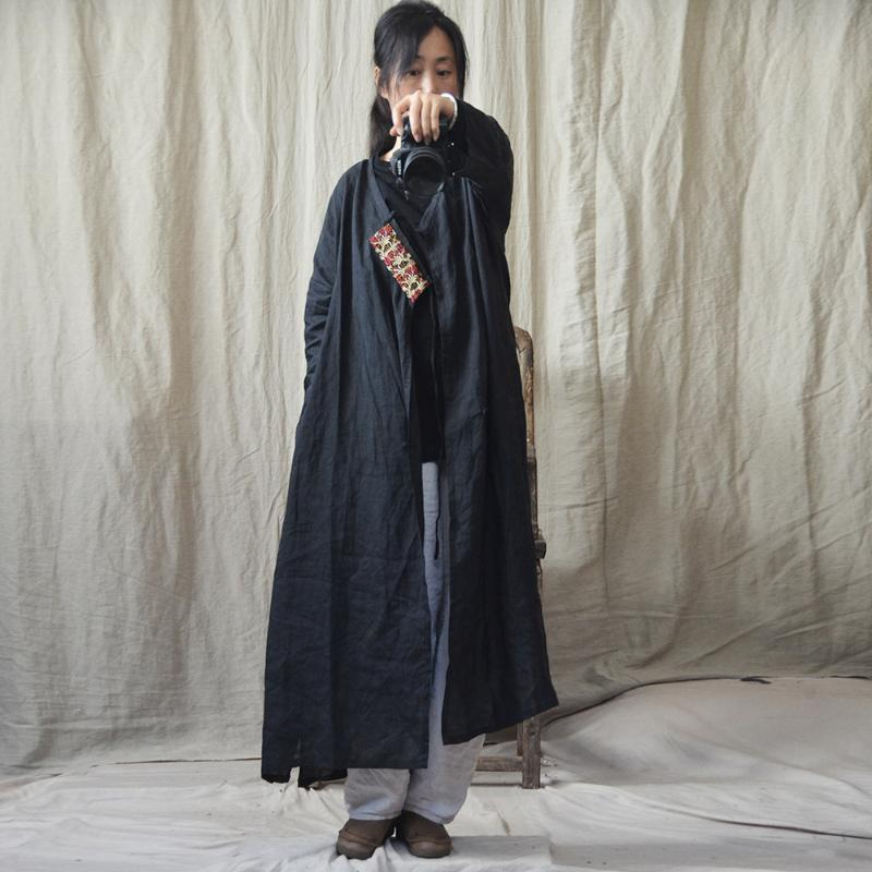 Frauen Thin Ramie Trench Coat Oberbekleidung Damen Vintage Lose Patchwork Ramie Langmantel Weibliche 2020 Mantel
