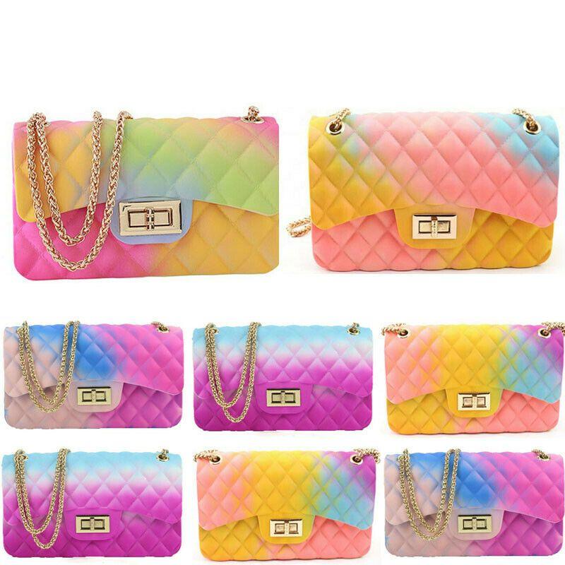 Jelly bolsas Mini bolsas de PVC Rainbow Color pequeno Bandoleira Sacos para Ombro Mulheres Verão senhoras de saco Sacos de mão Sac principal Femme