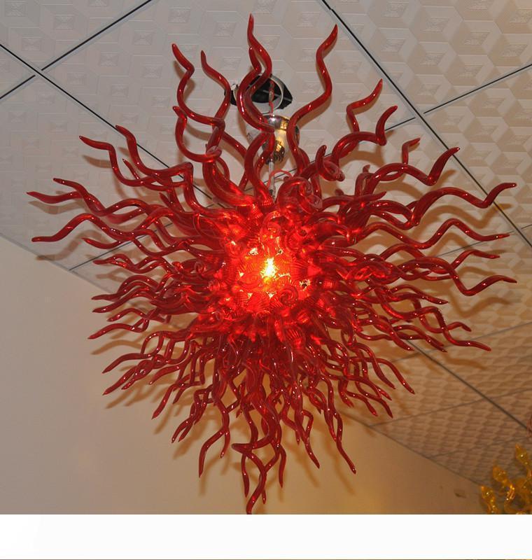 Бесплатная доставка AC Led лампы 11 24 дом Декоративных красная Руки выдувное стекло Цветок Vintage люстра