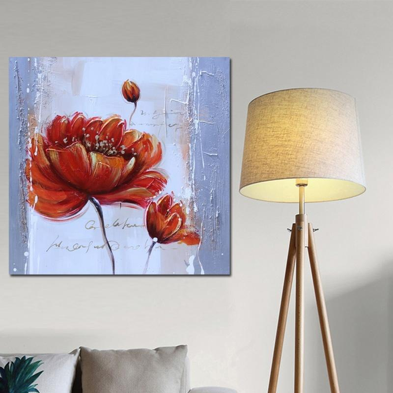 Modern Red Poppies Flower Abstract Oil Painting on Canvas Vintage Art Posters & Prints Wall Picture for Living Room Salon Decor