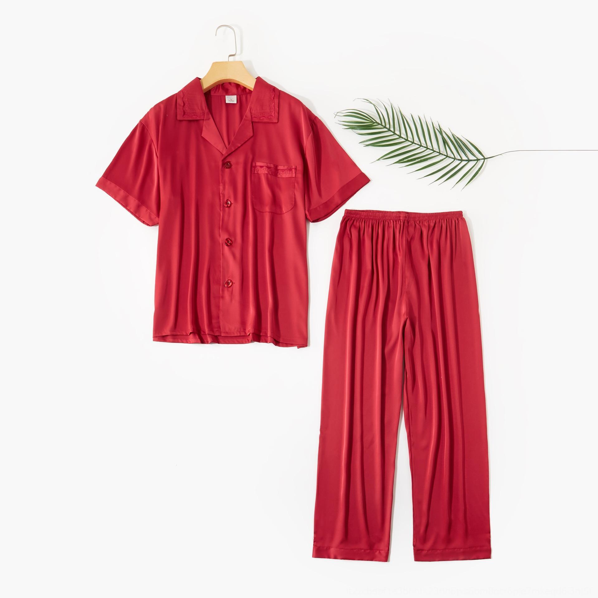 hguWy 2020 primavera nueva satén pijamas de los hombres de los pantalones de gasa traje de pantalones suitTrousers traje de solapa pantalones de manga corta manera determinada del hogar delgada