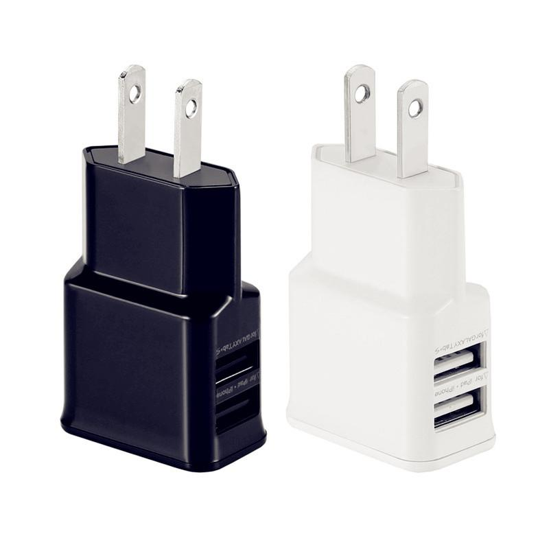 Fast Quick Charge 5V 1A 2A Dual usb ports US Eu Ac home wall charger power adapter for iphone 7 8 X Samsung s6 s7 edge s8 android phone