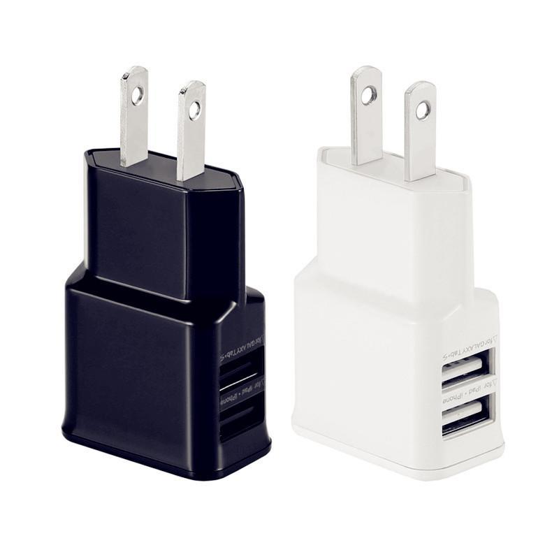 Rapide Charge rapide 5V 1A 2A ports USB double US Eu Ac adaptateur secteur chargeur mural d'accueil pour iPhone 7 8 X Samsung s6 s7 bord s8 téléphone Android
