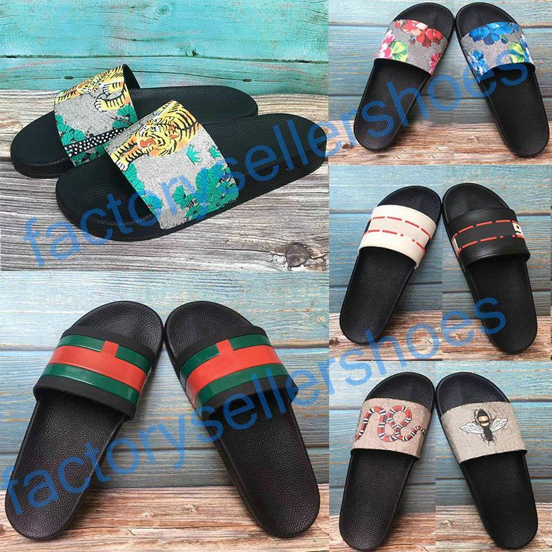 2020 Gucci Sandales  Moda Chinelos New Sandals Sandales floral de brocado branco dos homens Red engrenagem Bottoms Virar Womens Slides Flops Flats Casual chinelo 36-46