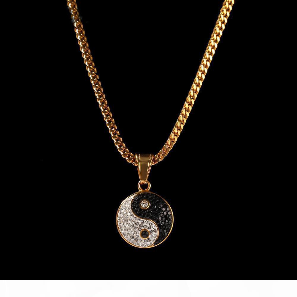 Aço inoxidável 14k ouro para fora congelado Rhinestone Sólido Preto e branco Yin Yang Tai Chi colar de pingente de Gossip