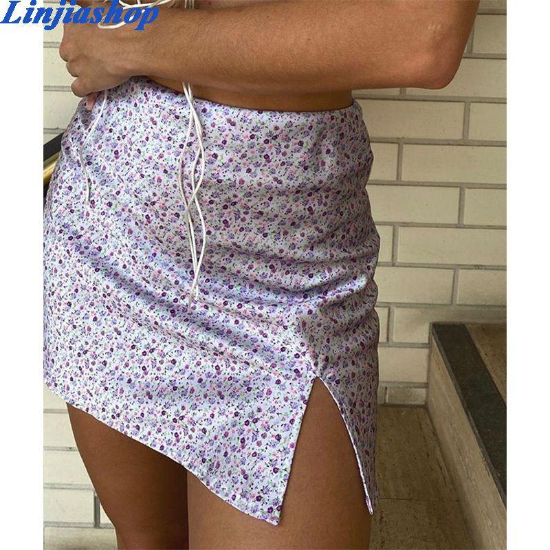 Les femmes vintage jupe d'été satin imprimé floral sexy chic et fermeture à glissière mini crayon taille haute jupe vestidos femmes dropshipping T200712