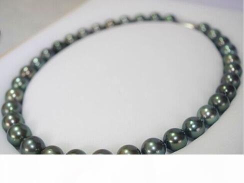 El envío libre rápido real fina joyería de las perlas de Tahití 18-20inch 9-10mm verdadero pavo real negro azul verde collar de perlas broche de 14k