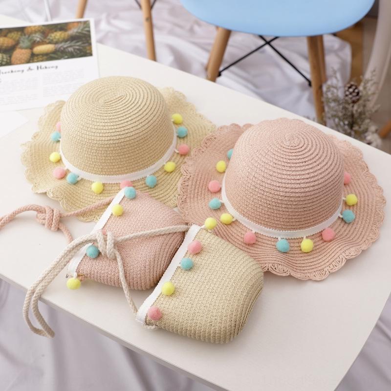 Infantil Princesa primavera praia e bacia de palha sol verão meninas Straw moda saco chapéu bacia chapéu de sol terno