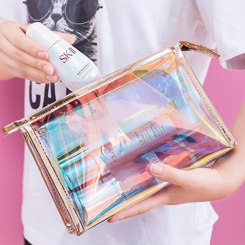Láser manera TPU bolsa de almacenamiento de Verano cosmética Bag Lady Wash barato al por mayor precio mini mujeres de la jalea transparente