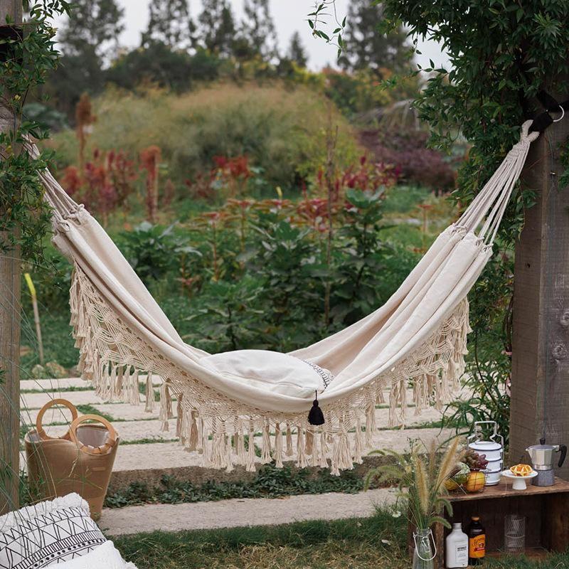 Boho Tassel Nest Hammock Swing Chair Outdoor/Indoor Picnic Garden Macrame Brazilian Hammock Hanging Net Chair Swings