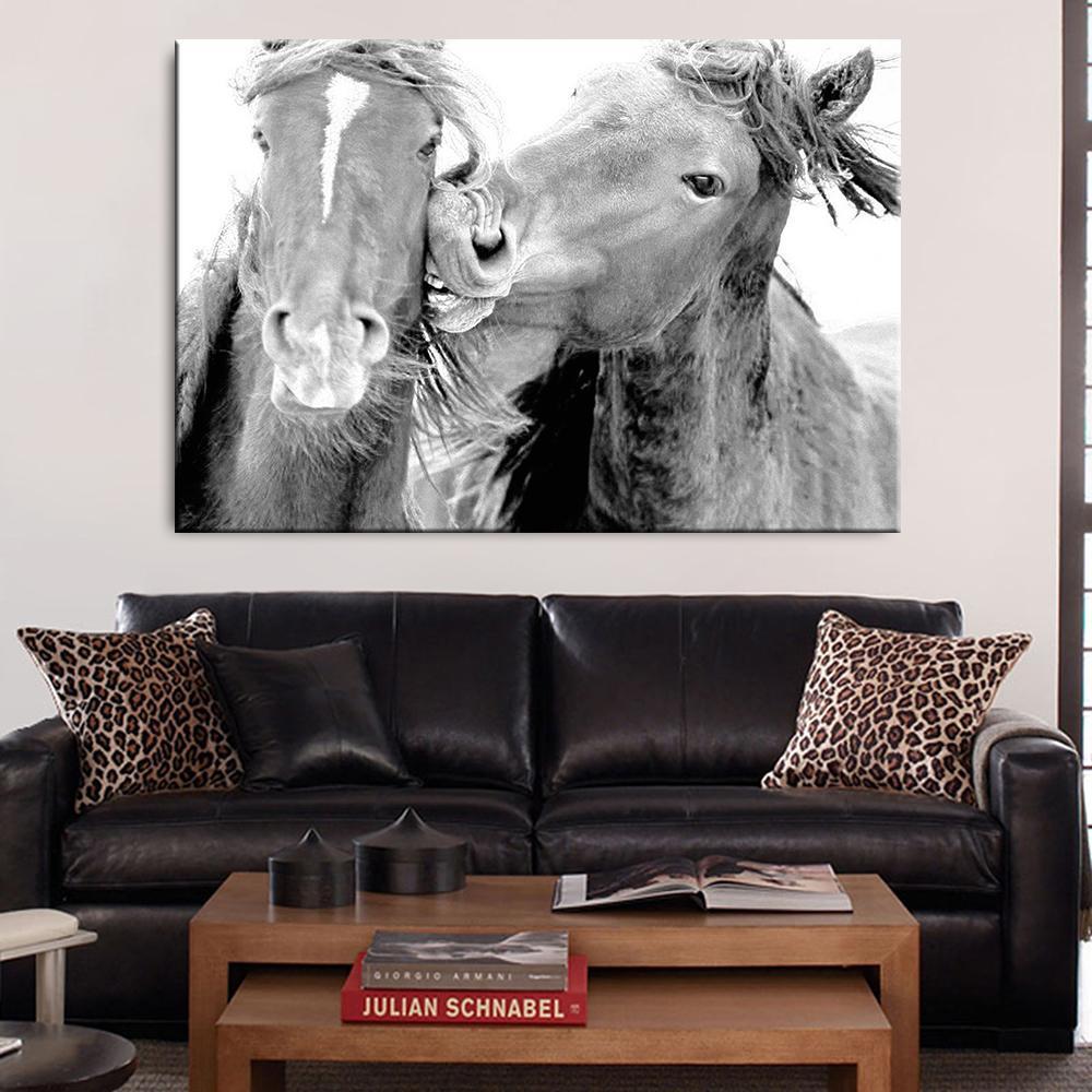Arte Dos caballo gris Pantallas Animales cartel de la pared Imágenes para la sala Animal Decoración Cuadros pared de la lona decoración del hogar