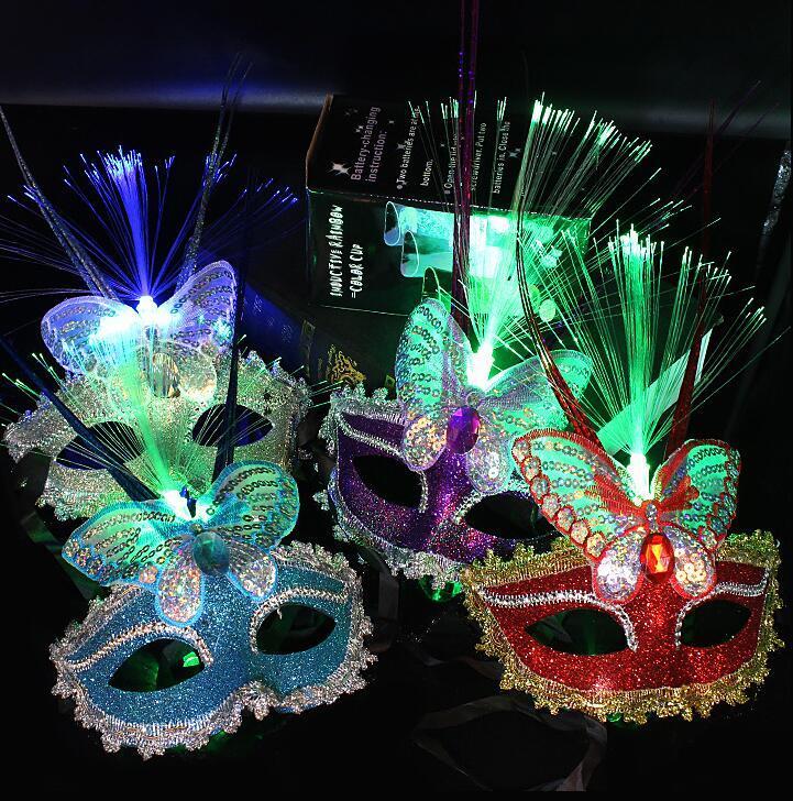 Máscara veneciana LED Partido Fibra de lluvia Máscaras para niños Mariposa Halloween Máscara Máscara intermitente Luminoso adulto Navidad Masquerade GGA3565 EQQHC