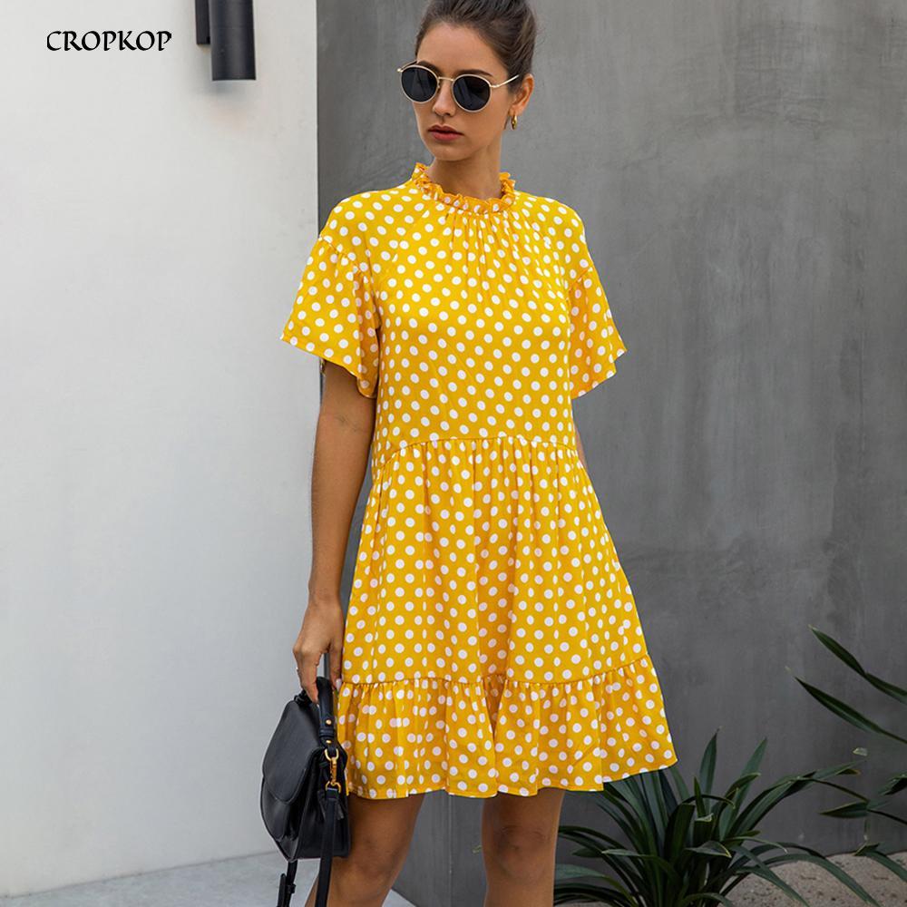 Nero polka dot-abito donne di estate Sundresses casuali Bianco allentato vestiti misura Free People 2020 Womens giallo vestiti di tutti i giorni