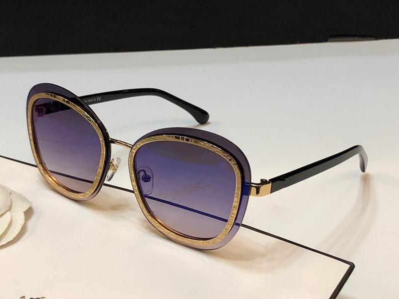 4264 gafas de sol para las mujeres diseñador del marco de protección UV Moda capa de espejo de la lente completa plateada del marco de calidad superior vienen con el caso
