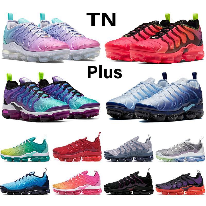 2020 Nova Rosa Sea Além disso Tn Mens Running Shoes Triplo Preto Branco Tensão Red roxo Hiper Violet Blue Lemon Lime Homens Mulheres Tênis