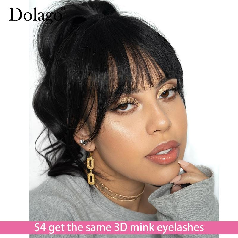 Glueless Full Lace Human Hair Wigs With Bangs Body Wave Transparent Brazilian Lace Wig With Baby Hair Fake Scalp Dolago Remy