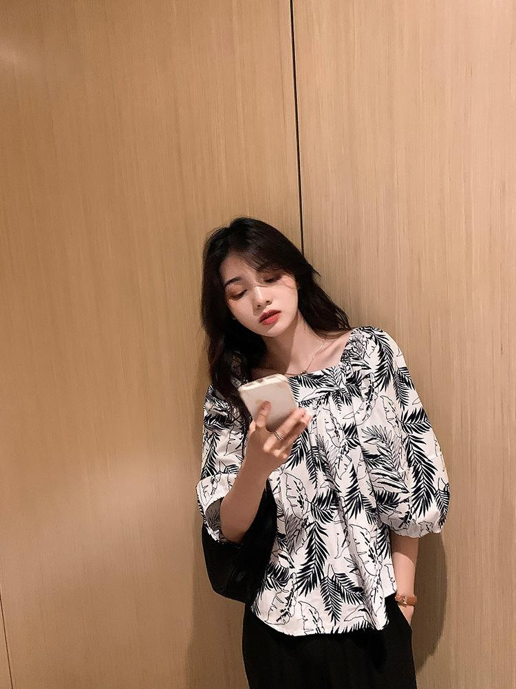 OF533 nicho de gasa ancha verano 2020 nuevo sentido diseño impreso cuello de la camisa cuadrada del camiseta top de la parte superior de las mujeres flojas