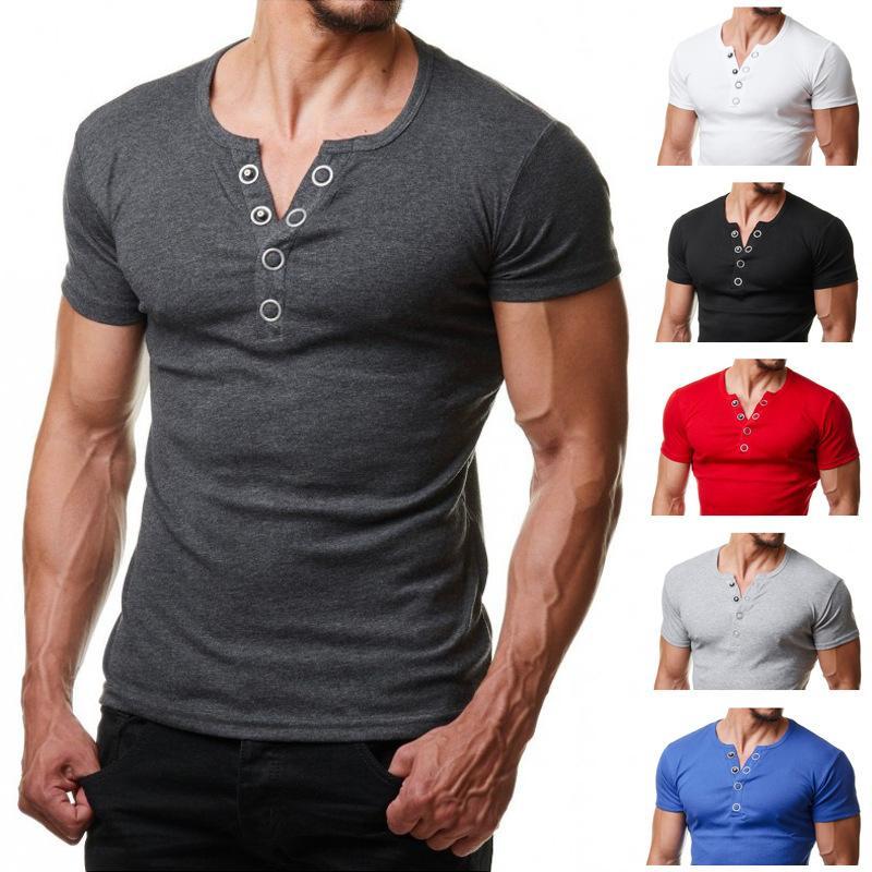 Henley Футболка Мужчины 2020 Летняя мода V образным вырезом с коротким рукавом майка Homme Повседневный Slim Fit Metal Button Design Мужские футболки XXL