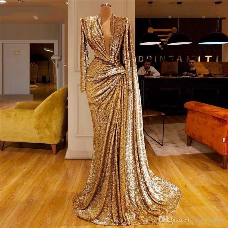 2020 반짝 스팽글 골드 이브닝 드레스 깊은 V 목 주름 긴팔 티셔츠 인어 댄스 파티 드레스 두바이 아프리카 파티 드레스