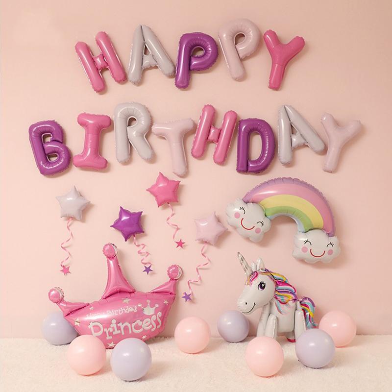 HAPPY BIRTHDAY البالونات مجموعات دش احباط بالونات عيد ميلاد الحزب الديكور الاطفال الأبجدية بالونات الهواء الطفل يونيكورن فتاة بوي
