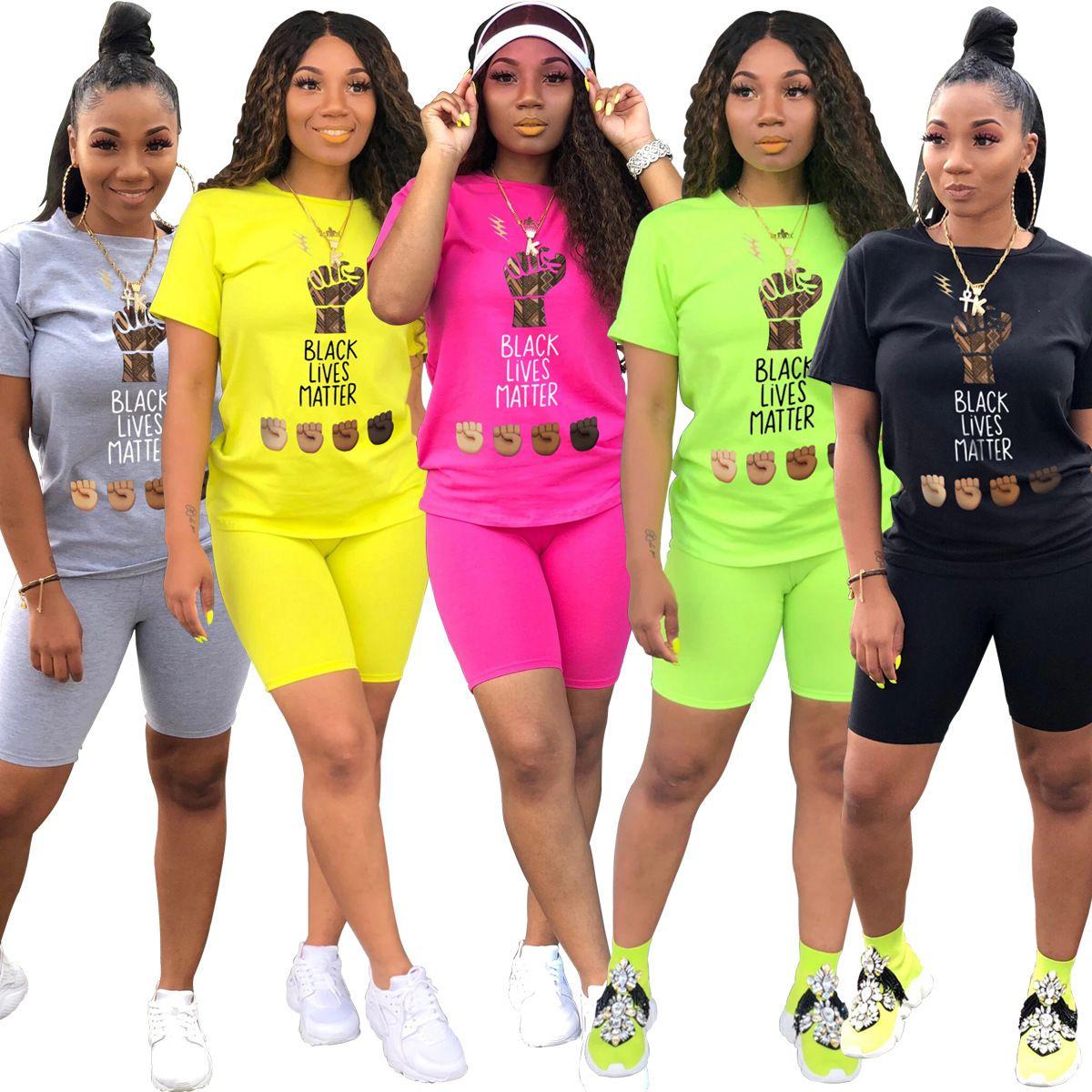 Женщины Письмо Black Tracksuits Live Motal 2 Piece Набор Футболка Шорты Шорты Шорты для футболки Летняя Повседневная Одежда Полносуществу Полносуточная Короткая Рукав S-2XL