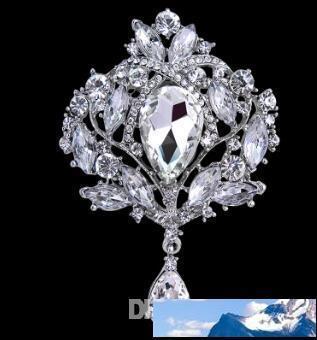 4-дюймовый Большой Кристалл водослива высокое качество золота тон падения Брошь Изысканный Большой Diamante ювелирные изделия Брошь Большой Кристалл Женщины Протяжка 106