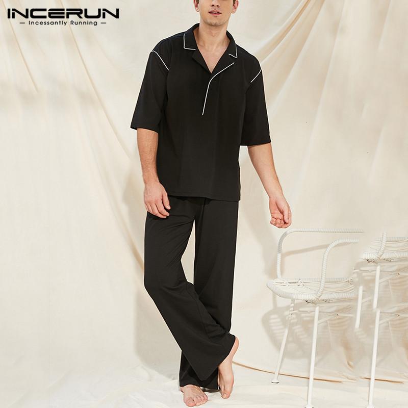 Erkek Pijama İncerun Moda Erkekler Pijama Setleri Yarım Kollu Yaka Eğlence Homeweak Pantolon 2 Parça Katı Comfort Mens Gecelik Suits
