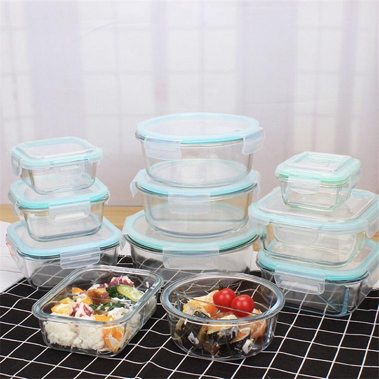 1040ml de cristal envase de alimento de almacenamiento con tapas de vidrio de comidas de preparación envases herméticos de cristal a prueba de almuerzo cajas Bento BPA libre de fugas
