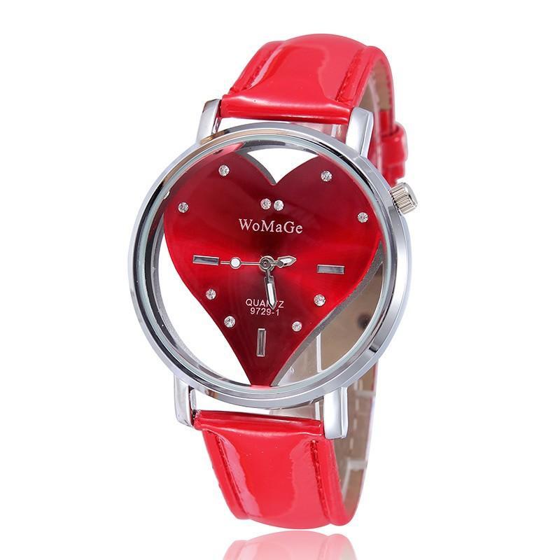 Beiläufige Art und Weise Frauen-Kleid-Uhr-Spitzenmarken Lederband Damen Quarz-Armbanduhr Luxus Weibliche Uhr Herzform-Uhr-Geschenk