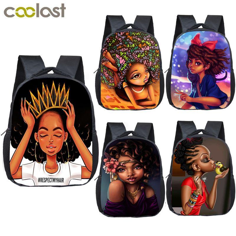 12 inch cartoon cute afro girl backpack children school bags brown beauty princ kids kindergarten backpack baby toddler bag