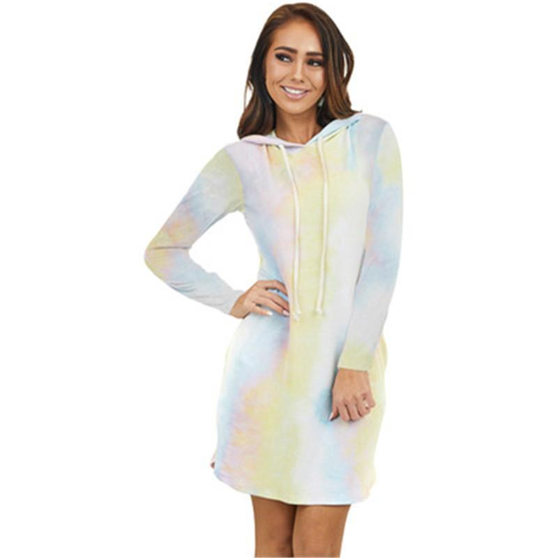 Frauen Tie-Dye Hoodie Taschenkleid Mode Trend Gradienten Langarm Top Kleid Designer Weibliche Neue Beiläufige Lose Kapuze Tee Kleid Kleidung