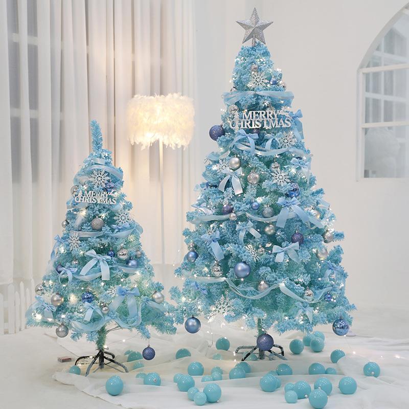 شجرة عيد الميلاد الأزرق الاصطناعي مجموعة ديكور المنزل اكسسوارات زينة عيد الميلاد للمنزل شجرة تمثال ديكور
