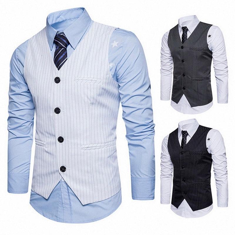 2018 Marca Giacca Maglia degli uomini senza maniche Bianco Grigio Nero Vintage Stripe Vest Classic formale panciotto per il partito di nozze C1j3 #