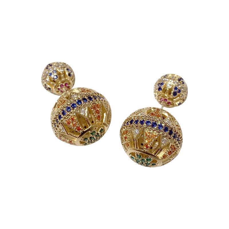 Balles creuses de couleur boucle d'oreille pour Lady Brand Design oreille Full Diamond Stud Argent 925 aiguille Bijoux de mariage de luxe Femmes Boucles d'oreilles Mode