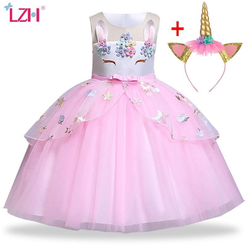 Einhorn-Kleid-Kind-Kleid für Mädchen Weihnachtskostüm Kinder Prinzessin-Kleid-Mädchen-Geburtstags-Party-Kleid 3 4 5 6 7 8 9 10 Jahr T200721